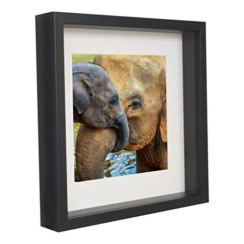 BD ART 11x11 (28 x 28 x 4.7 cm) Black Shadow Box 3D Square Picture Frame with Mat for 8x8 inch Photo, Glass Front