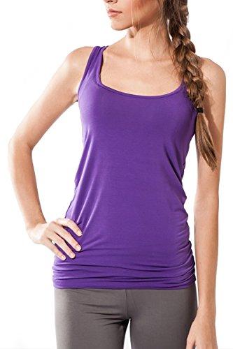 Camicia senza maniche da donna Sportiva Sternitz - Multicolore - Maya Top - ideale per pilates, yoga e qualsiasi sport, tessuto di bambù, ecologico e morbido. (Medium, Viola)