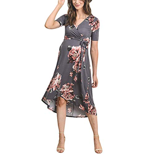 mama stadt Umstandsmode Kleid Sommer Lang Blumenkleid mit V Ausschnitt Elegant Umstandskleid Festlich Schwangerschaftskleid Vintage/2XL