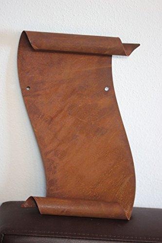 Schriftrolle zum Beschriften aus Metall Edelrost B 16, H 26 cm