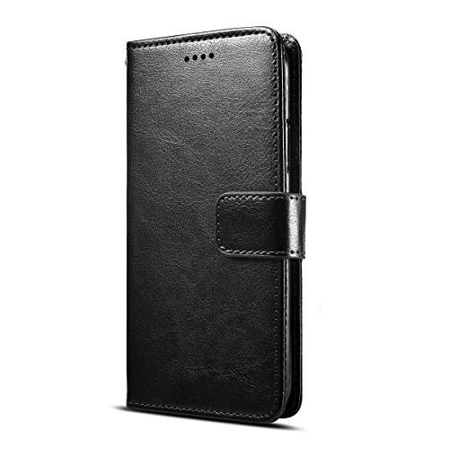 Fertuo Funda para Huawei Y6s, Carcasa Libro con Tapa de Cuero Piel Wallet Case Flip Cover con Silicona Bumper, Kickstand, Tarjetero, Cierre Magnético para Huawei Y6s Smartphone, Negro