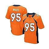 Pilang Vêtements for Hommes Rugby à Manches Courtes, Denver Broncos, Derek Wolfe # 95, vêtements de Formation Rugby, Sport Football américain (Color : Orange, Size : XXL)