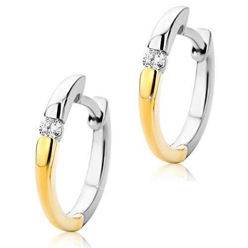 Orovi Damen Diamant Creolen Ohrringe 9 Karat (375) Zweifarb/Weißgold und Gelbgold Ohr-Schmuck Brillianten 0.07ct