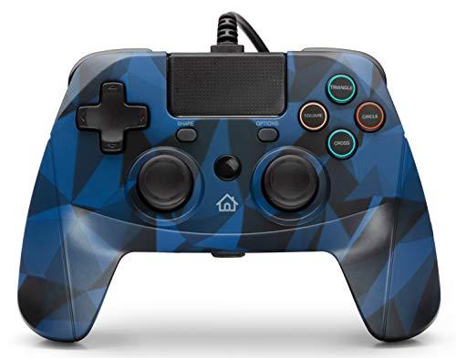 snakebyte GAMEPAD 4S – blau camo - Controller für PlayStation 4 / PS4 Slim / Pro / PS3, Analoge Dual Joysticks, PC kompatibel (Windows 7 / 8 / 10), 3m Kabellänge, Touchpad, haptische Feedback