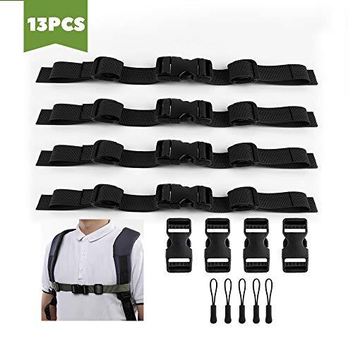 RayE 13 Stück Verstellbarer Brustgurt Nylon Rucksack für Schulranzen universal Strapazierfähiger Zum Jogging und Wandern - Schwarz