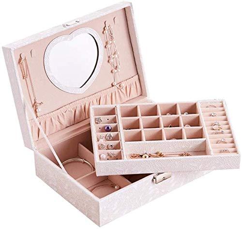 Jewelry Box for Women, Joyery Box with Heart Shape Mirror Mostrar caja de almacenamiento Caja de Joyería Joyería Organizador Caja de organizador con bloqueo Organizador Tesoro multiuso Treasure Tinket