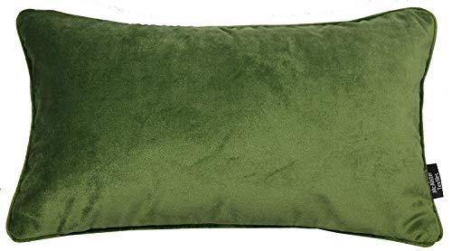 McAlister Textilien Kissenhülle matt Samt in Farngrün Maße 50 x 30 cm für Samtkissen griffester Samt edel paspeliert, erhältlich in 25 Farben Kissenhülle für Sofakissen für Sofa, Couch
