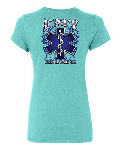 EMT Saving One Life at a Time Women's T-Shirt Paramedic First Responders Shirt Light Blue L