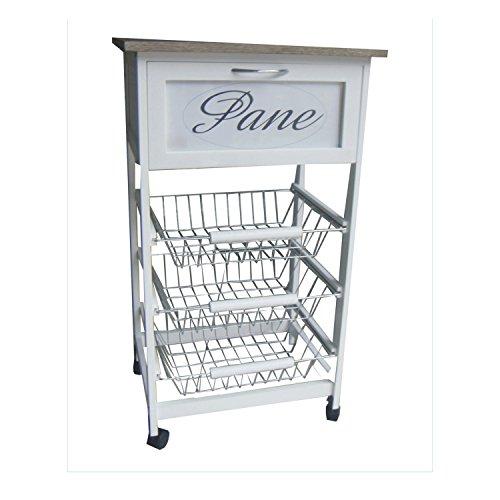 carrello da cucina portapane in legno bianco 3 cassetti Shabby chic portafrutta