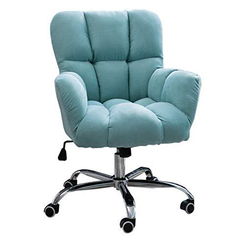 Sessel Loungesessel Esszimmerstuhl Home Office Stuhl mit mittlerer Rückenlehne, Modern Design Velvet Desk Task Chair mit Armen, Mädchen Cute Bedroom Leisure Pink Computer Chair