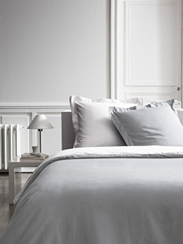 Parure HC4 Percale Bicolore TODAY Premium (Housse de Couette 220/240 + 2 Taies 75/75) - 100% coton - Chantilly / Zinc