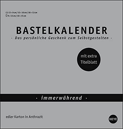 Bastelkalender Premium immerwährend silber mittel - edler Karton in Silbergrau - mit extra Titelblatt und jahresunabhängigem Monatskalendarium - Format 21 x 22 cm