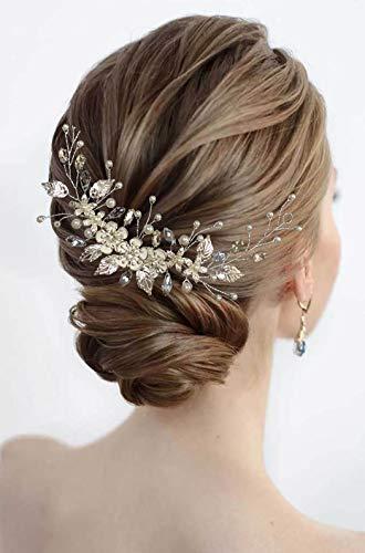 Zoestar Blumen-Hochzeits-Haarreif, silberne Perlen, Kristall-Stirnbänder mit Perlen, dekorativer Kopfschmuck, Brautschmuck, Blatt-Haarschmuck für Frauen und Mädchen