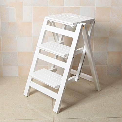Folding Ladder Staircase, Multi-Functional Folding Solid Wood Ladder Stool, Step Stool Household Muliti-Color Stool Step Ladder Foldable Stepladder (White, 3)