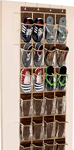 24 Pockets - SimpleHouseware Crystal Clear Over The Door Hanging Shoe Organizer Brown