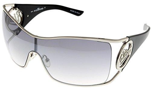 John Richmond Sunglasses Womens JR631 02 Sheild Silver Pallidium Black