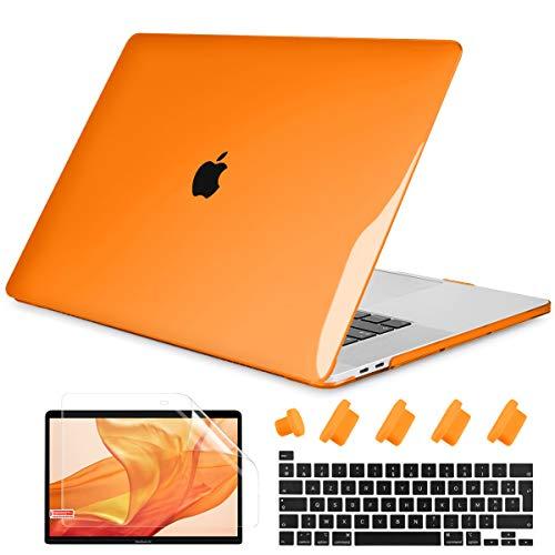 Batianda - Carcasa para MacBook Air de 13 pulgadas, 2020 2019, modelo M1 A2337 A2179 con Touch ID & Retina, plástico rígido, funda protectora de teclado y protector de pantalla, color naranja