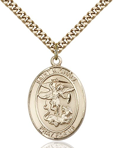 Patron Saints by Bliss 14K Gold Filled Saint Michael Paratrooper Military Medal Pendant, 1 Inch