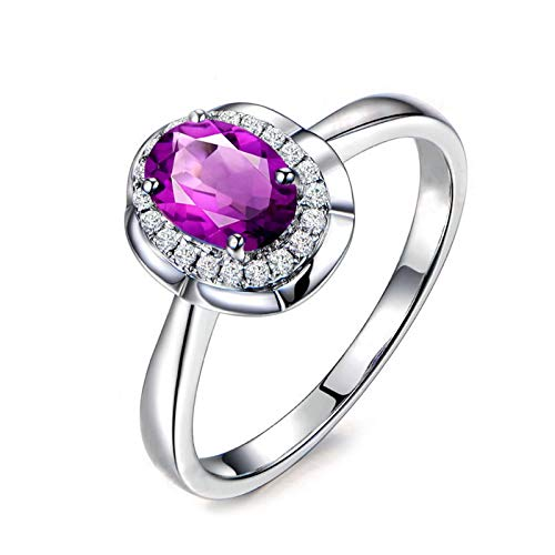 Adokiss Jewellery Ring for Women 925, Oval Purple Cubic Zirconia with Round White CZ Wedding Bands Women, Silver, Size U 1/2,Birthday Gift for Your Wife/Girfirend/Mother