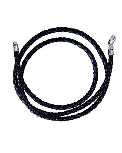 iJewelry2 - Collana in corda intrecciata intrecciata in pelle nera, 40,6 cm, 45,7 cm, 50,8 cm, 76,2 cm e Argento, colore: Nero , cod. JK-rope
