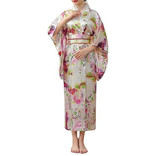 Women's Japanese Kimono Floral Print Satin Traditional Long Robe Yukata Sexy Geisha Cosplay Costume Pink