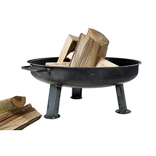 acerto 40373 Massive Feuerschale 80cm + 5 STK. Kaminholz Birke * Klöpperboden * Massiver Stahl * Made in Germany | Große Feuerschale für draußen | Runde Metall-Feuerstelle für den Garten