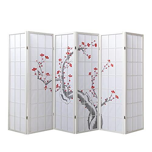 Homestyle4u 340, Paravent Raumteiler 6 teilig, Holz Reispapier, Weiß Kirschblüten Motiv