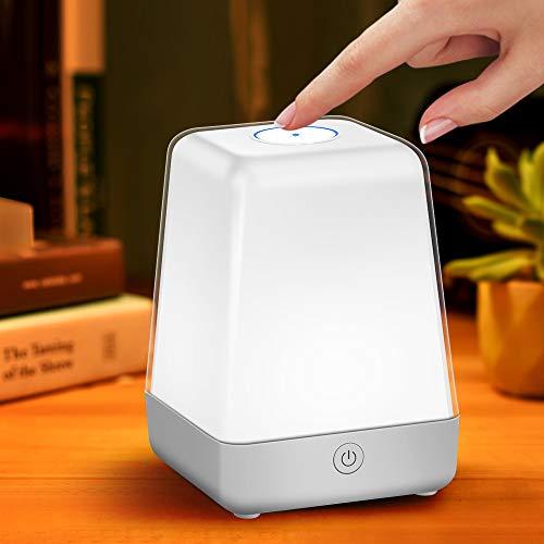 ZEEFO Nachttischlampe Touch Dimmbar,Led Tischlampe Stimmungslicht,USB Aufladbar Nachtlampe für Kinder Schlafzimmer Deko Camping ,3 Modi und 7 Wechselnden Farben Schreibtischlampe