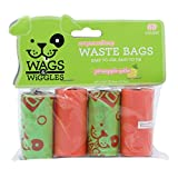 Wags & Wiggles Large Scented Dog Waste Bags | Pineapple Scented Dog Poop Bags | 4 Rolls of Doggie Bags, 60Count