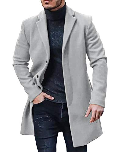 Gemijacka Mantel Herren Winter Wollmantel Slim Fit Lange Jacke Herren Business Grau L