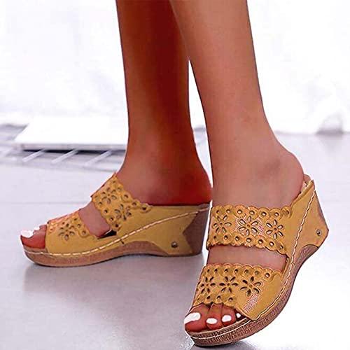 Sandalias de Mujer para Zapatos de Playa, Sandalias de Gladiador a la Moda para Mujer, Calzado de Fondo Grueso, Sandalias Planas para Mujer, Amarillo