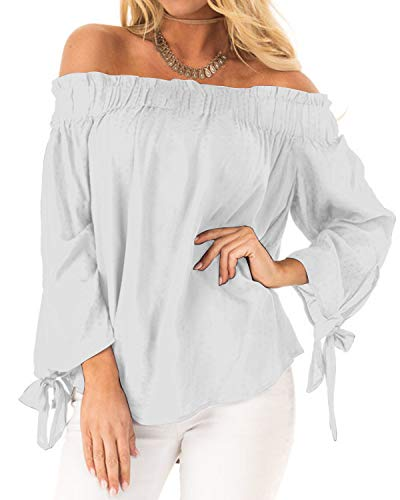 ACHIOOWA Mujer Camiseta Manga Larga Sexy Hombros Descubiertos Otoño Blusa Elegante Casual Top Shirt