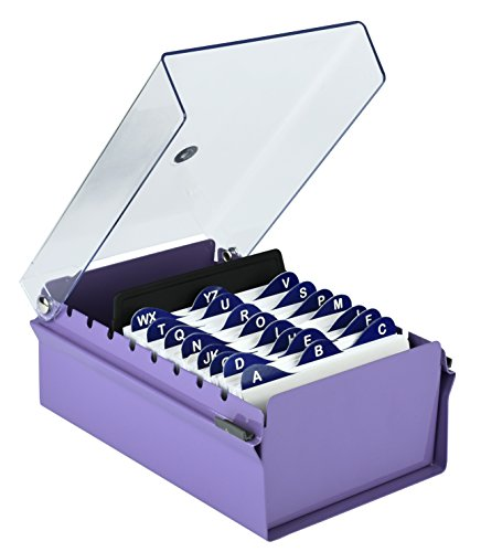 Acrimet 3 x 5 Card File Holder Organizer Metal Base Heavy Duty (AZ Index Cards and Divider Included) (Purple Color with Crystal Plastic Lid Cover)