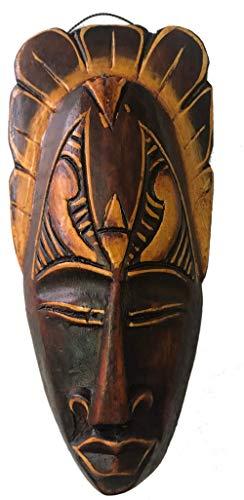 Woru Maschera Dipinta, 20 cm, Maschera di Legno di Bali, Maschera da Parete Motivo: Guerriero