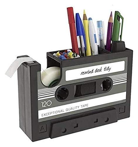 Soporte de lápiz Potic Lápiz Lápiz Organizador de taza de lápiz Retro Pantalla de pluma Cassettes con dispensador de cinta adhesiva Titular multifuncional del bolígrafo Multifuncional Organizador Crea