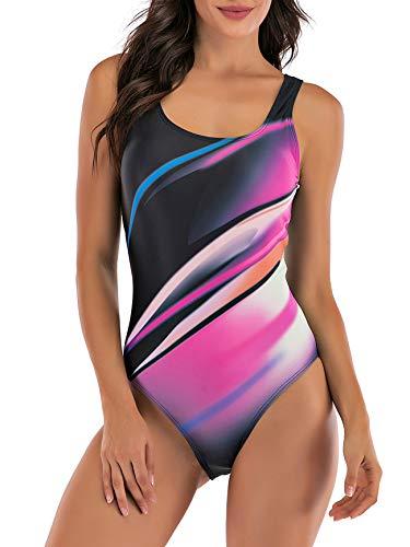 American Trends Bikini-Set für Damen, zweiteilig, solide String-Bikini-Set mit Neckholder-Top und seitlichem Tanga -  Violett -  X-Large