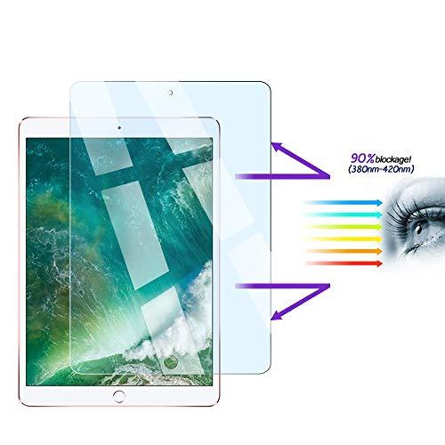 FiiMoo Anti-Blaulicht Panzerglas Displayschutz Folie kompatibel mit iPad Air 1/ Air 2/ iPad Pro 9.7 Zoll, Augenpflege, Augenermüdung lindern [Blockiert übermäßiges schädliches blaues Licht & UV]