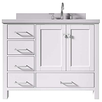 """ARIEL 43"""" Inch Right Offset White Bathroom Vanity with 1.5"""" Inch Thick Edge White Quartz Countertop   Rectangle Sink   2 Soft Closing Doors & 5 Full Extension Dovetail Drawers   Satin Nickel"""