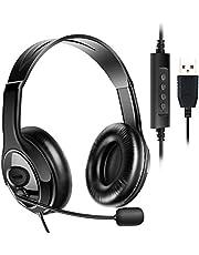 ヘッドセット USB式 両耳 マイク付き 120度回転 高音質 ヘッドフォン ヘッドバンド調整 音量調節 ノイズキャンセリング 通気 ヘッドホン パソコン ゲーム用 会議 在宅勤務 (ブラック)