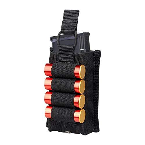 Gexgune Soporte de munición de Cartucho de Calibre 12 de Pistola táctica de Nylon con 4 Organizador de Revista de Tela Glock Redonda