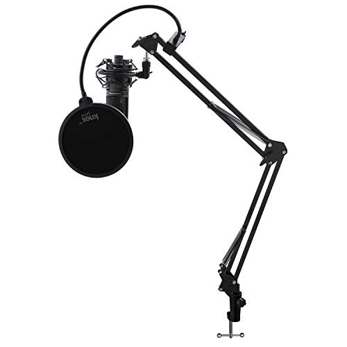 Audio-Technica AT2020USBPLUS Condenser Microphone with Knox Gear Shock Mount, Boom Scissor Arm, and Pop Filter