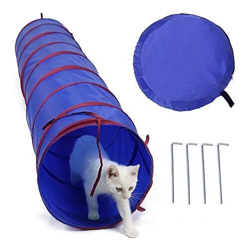 PAWZ Road Indoor Outdoor Katzentunnel mit gemahlenen Nägeln und Beuteln, Katzenspielzeug Tunnel für Katzen Kaninchen, Durchmesser 30cm * Länge 198cm