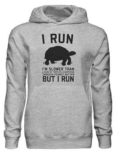 Soy más lento que una manada de tortugas estampando a través de mantequilla de maní pero yo corro sudadera con capucha bnft, gris, XL