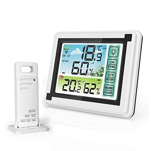 RUIZHI Termometro da Esterno per Interni Wireless Meteo, Igrometro Digitale con Touchscreen Registrazioni Min/Max Termometro da Camera Misuratore di Umidità per Magazzino, Soggiorno, Ristorante