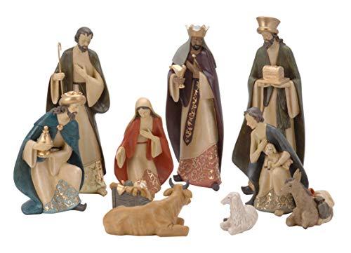 Spetebo XXL Weihnachtskrippe Figuren 35 cm - 10 Krippen Figuren handbemalt - Krippe Zubehör