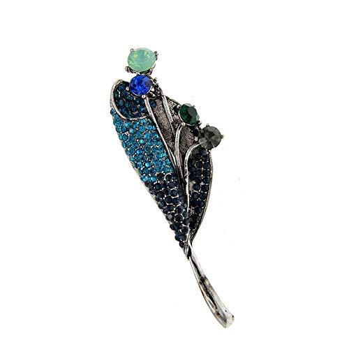 GLKHM Brooch Set Leaf Brooch Flower Pin Brooches Women Blue Color Vintage Accessories