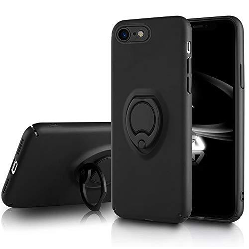 iPhone8 ケース リング iPhone SE2 [第2世代] iPhone7 ケース リング付き ハード 薄型 ストラップホール おしゃれ かわいい 耐衝撃 レンズ保護 指紋防止 iPhoneカバー (iPhone7/iPhone8, ブラック)