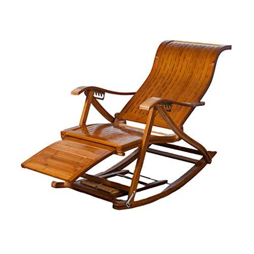 N / A Bamboo Rocking ChairSedia Pieghevole, Divano Pigro, Sedia a Dondolo in bambù, Poggiapiedi Allungato, Balcone per Il Tempo Libero Anziano Regolabile, Sedia a Sdraio da Giardino(Color:Un)