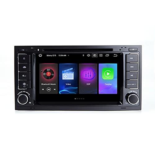 ADMLZQQ 7' Reproductor de DVD para Coche Android 11 GPS estéreo, Radio Navi WiFi para VW Touareg T5 Transporter Multivan Mando de Volante, Bluetooth/WiFi/Enlace Espejo/FM,8core WiFi 4+64+Rear Camera