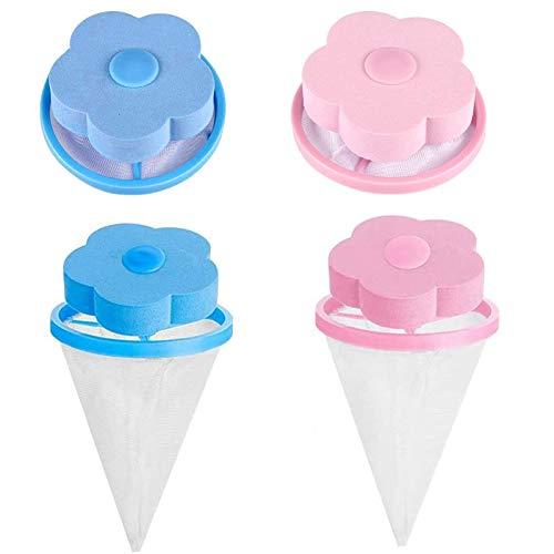 4 Pcs Wiederverwendbar Waschmaschine, Waschmaschine Haarfänger Haarentfernung für Waschmaschine für Hundehaar, Katzenfell, alle Haustiere(Pink, Blau)